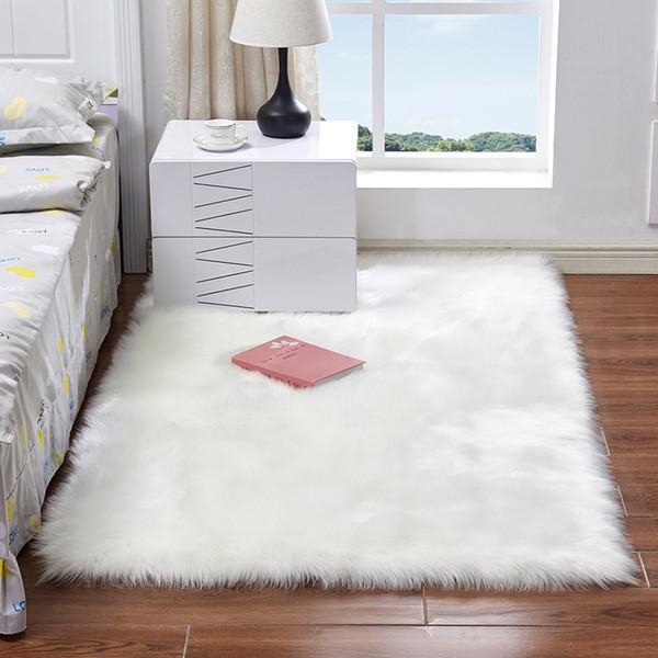 best selling Imitation Wool Floor Mat 50*50CM 60*90CM Anti-Slip Fluffy Artificial Wool Soft Carpets for Living Room Bedroom