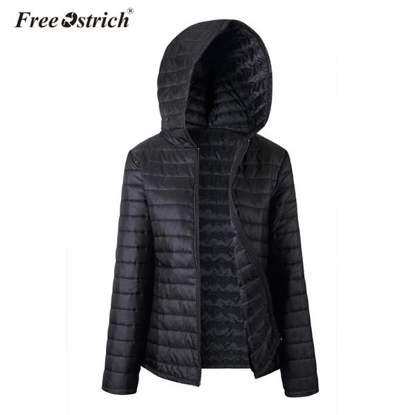 Free Ostrich Jacket Women Autumn Winter Hooded Warm Zipper 2018 Black Coats Long Sleeve Solid Parkas Coat L0530