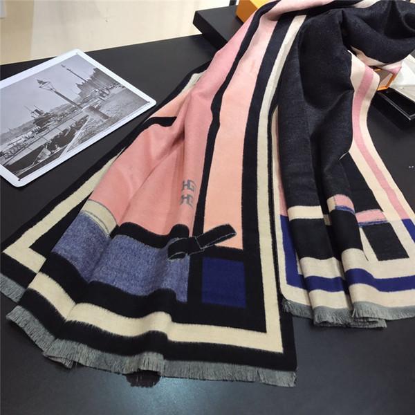 Yeni 2019 İyi Kalite Klasik Avrupa Tasarım Kadın markaları İpek Eşarp Şık Bayanlar Wrap eşarplar boyutu 180x75cm yazdırın. ücretsiz kargo