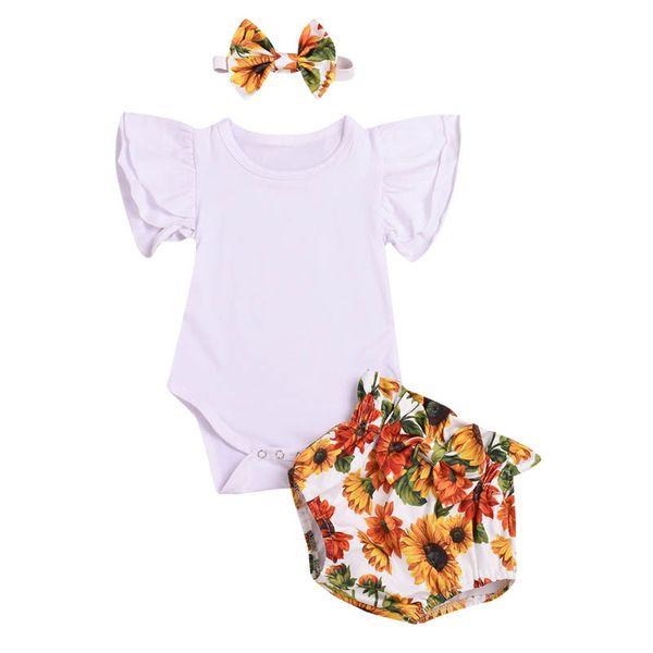 Nouvel été bébé filles costumes nouveau-nés tenues barboteuse floral + PP shorts + noeuds bandeau 3pcs bébé fille designer vêtements infantile ensembles A7592