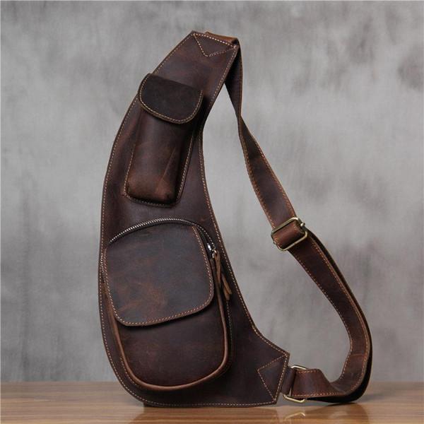 New Designer Men Genuine Leather Chest Bag Brand Real Cow Leather Motorcycle Crossbody Bags Mens Shoulder Messenger Bag Bolsos