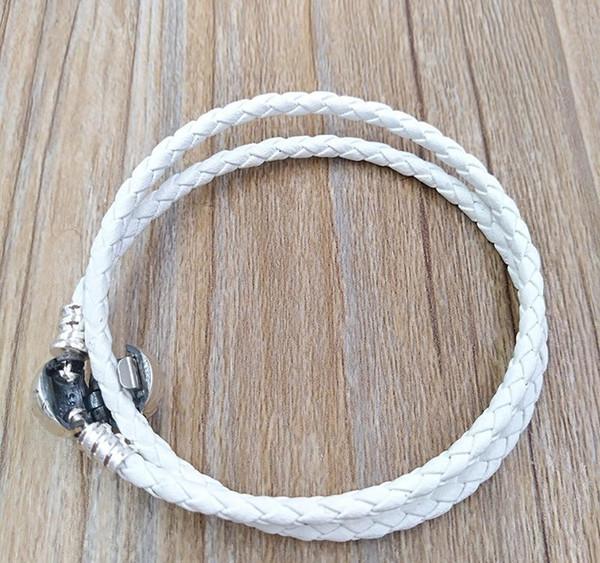 Auténtico 925 blanco marfil trenzado doble del cuero del encanto de la pulsera encantos de los ajustes de joyas de estilo europeo de Pandora cuentas hechas a mano 590745CIW-D