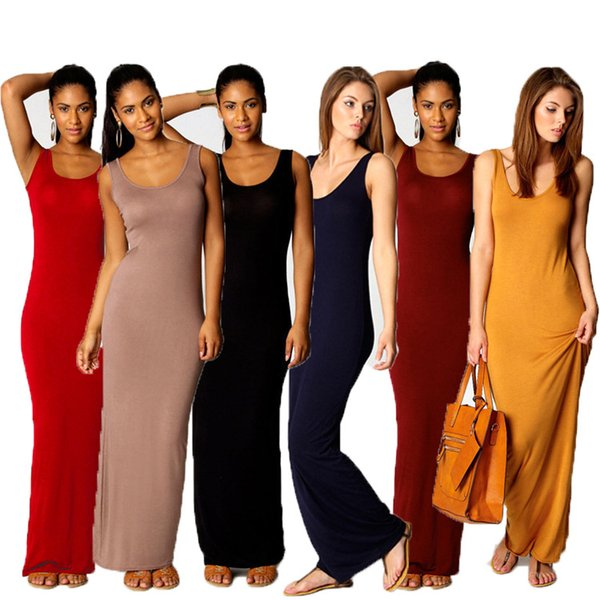 Hot Women Vest Tank Maxi Dress Silk Stretchy Casual Summer Long Dresses Sleeveless Backless Lady Dress Clothing Newest 14 color S-3XL