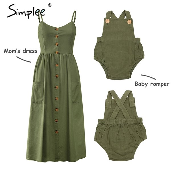 Mother and kids casual button dress Solid matching mom baby family clothes outfits cotton dress Cute baby romper summer