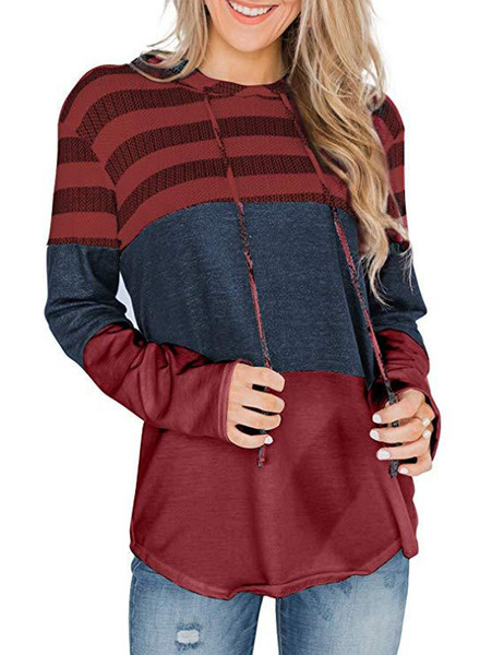 wine red striped hoodie