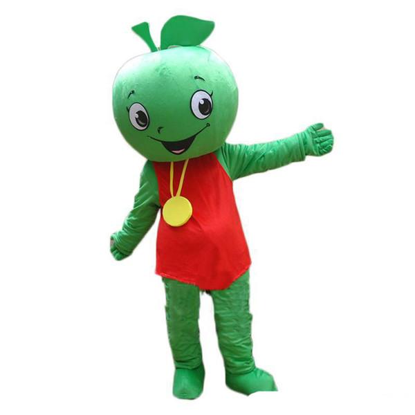 2018 La mascotte della frutta calda di alta qualità la piccola dimensione verde dell'animale della festa di compleanno del costume della mascotte di Halloween della mela di verde libera il trasporto