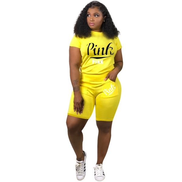 S-3XL Pink Women Tracksuit 2 Piece Sport Sets Women jogging Sportswear Short Sleeved Shorts Fashion Sweatsuit Casual Sports Suit 3 Colors