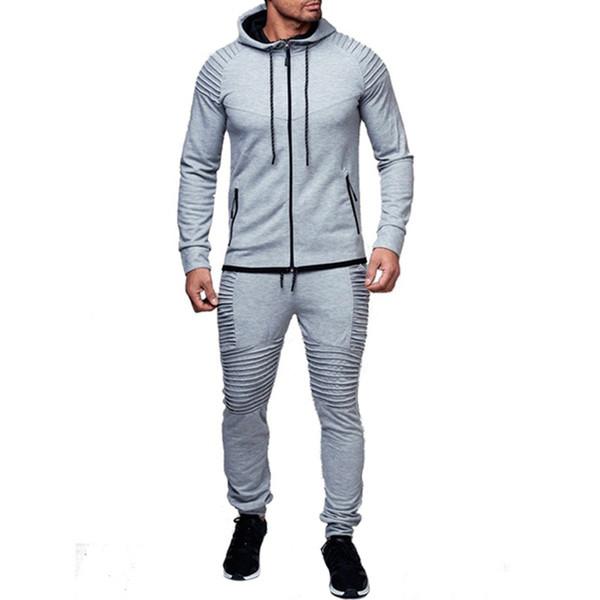 Erkekler Dış Giyim Casual Açık 2-adet Set Uzun Kollu Sonbahar Kapüşonlu Spor Giyim