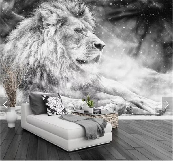 Custom Photo Wallpaper Mural Black And White Animal Lion Papier Peint Mural 3d Living Room Sofa Bedroom Background Decor Paper The Hd Wallpapers The