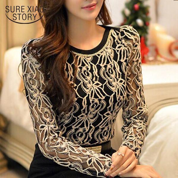 Nuevo tamaño más largo de encaje de manga larga blusa de gasa de las mujeres ahueca hacia fuera elegante moda casual camisa top
