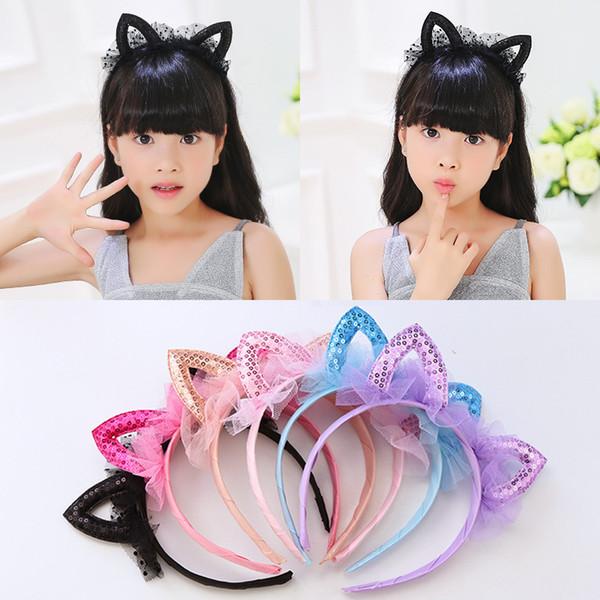 Los niños novedad orejas de gato de malla diadema lentejuelas cabeza del pelo aro accesorios de banda linda chica Hairband princesa corona Tiara Headwear 1 unid