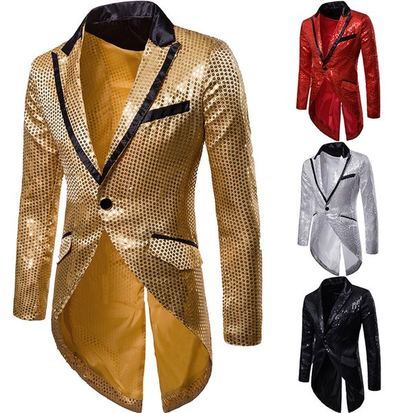 European Mens Sequins Bling Club Glitter Lapel Tuxedo Swallow-tailed Coat Jacket One Button F7