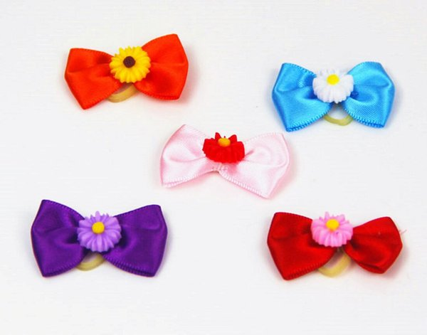 cute lovely Pet puppy Cat Dog sunflowers accessories hairpin Hair Bows with Rubber Bands Grooming Accessories Cute Pet Headwear Costume