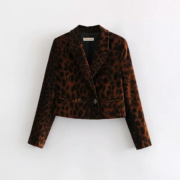 LJ65-8954 Omo fashion leopard print velvet suit jacket