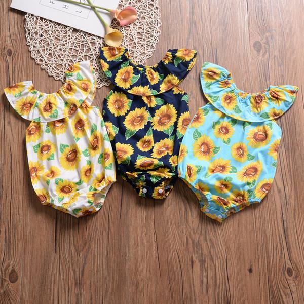 Ins Bebek kız giysileri Romper Moda Ayçiçeği Baskı Off-omuz 2019 Yaz Pamuk Kız giyim Toptan