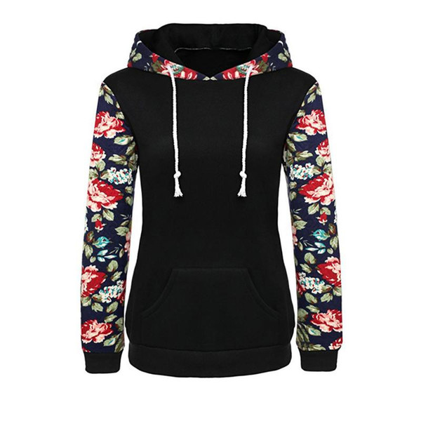 2017 New Winter Fall Fashion Women Floral Print Autumn Spring Jumper Women Long Sleeve Top Hoodies Sweatshirts Hooded Outerwear