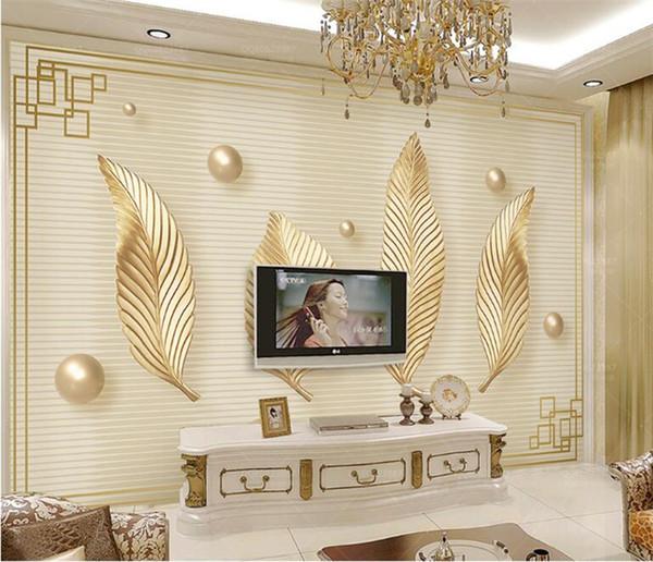 Acheter Nordique Minimaliste Petit Abstrait Doré Frais Laisse Salon Tv Fond Peinture Décorative Mur Couvrant La Maison Murales Personnalisées De