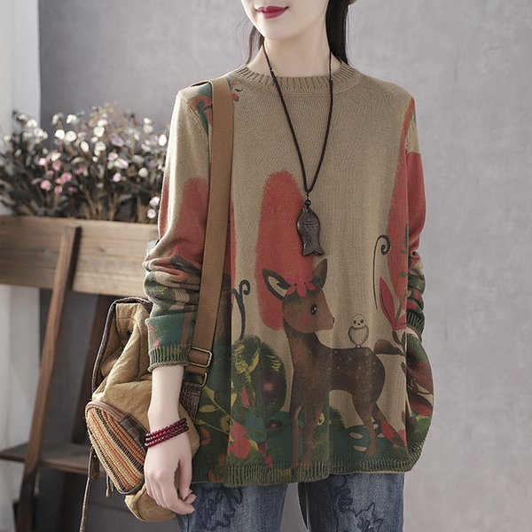 2020 spring and autumn new literary retro round neck pullover wool sweater female deer printing sweater