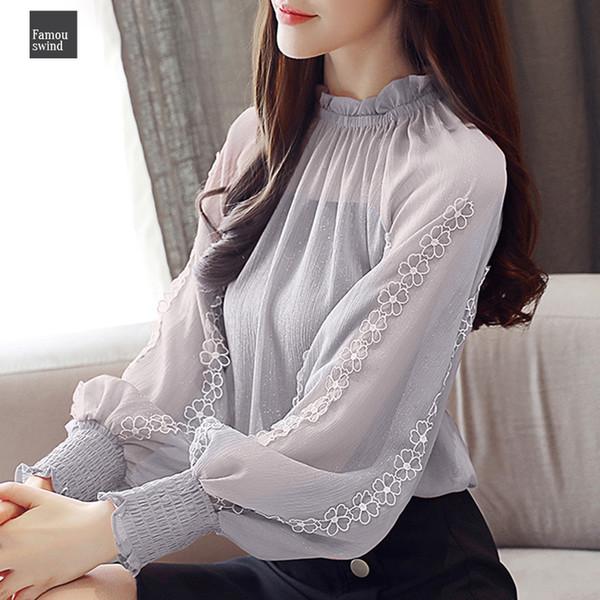 Nuevo otoño blusas de las mujeres de la gasa de la linterna camisa larga floja de costura del cordón que basa la camisa Superior Femenina Blusa 0792 30