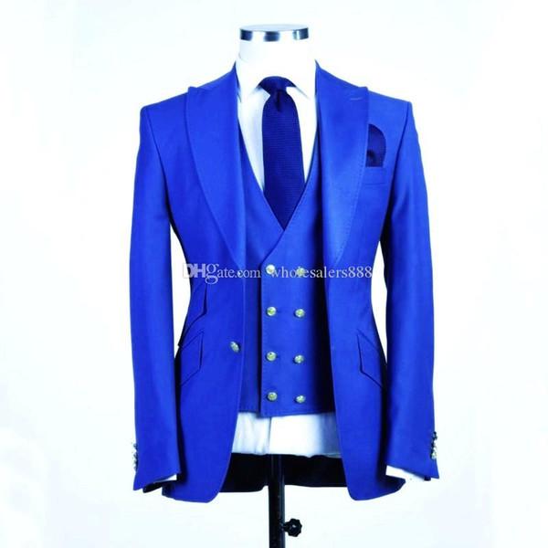 Nuovo arrivo Groomsmen Royal Blue Smoking dello sposo Picco risvolto Uomo Abiti da sposa Best Man Bridegroom Blazer (Jacket + Pants + Vest + Tie) L233