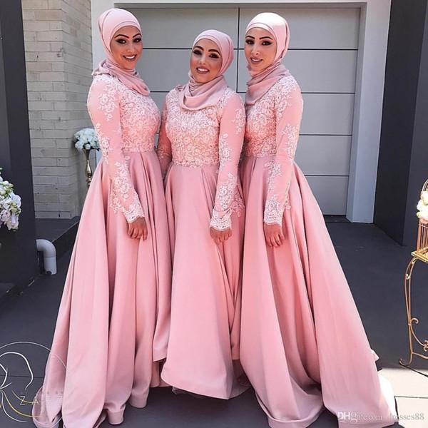 Vestidos de dama de honor con apliques árabes de encaje de color rosa con mangas largas Vestido de invitado de boda con cuello alto y una línea, vestidos de fiesta hasta el suelo