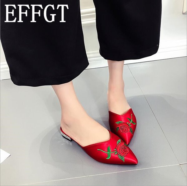 EFFGT 2019 sahte ipek saten kuş nakış slaytlar ev açık terlik kadın düz Ayakkabı topuk nakış katır kadın boyutu 42 Z412