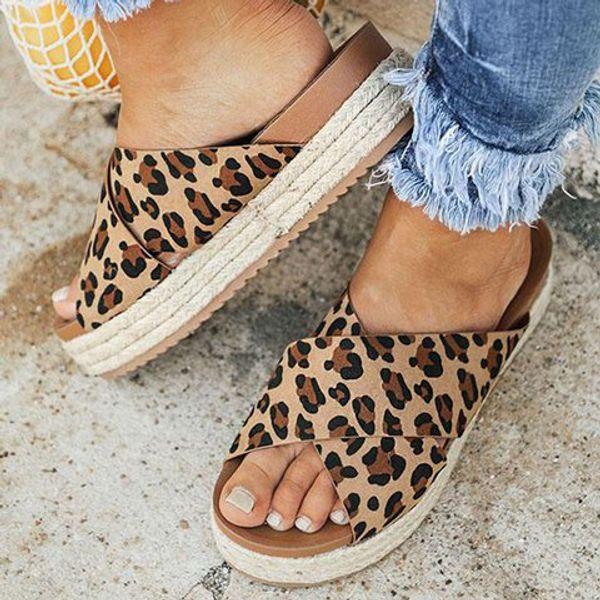 Las mujeres sandalias planos de la manera talones de las sandalias para el verano de gran tamaño cáñamo cuerda inferior grueso pescado articula las sandalias femeninas de los zapatos ocasionales de fondo blando