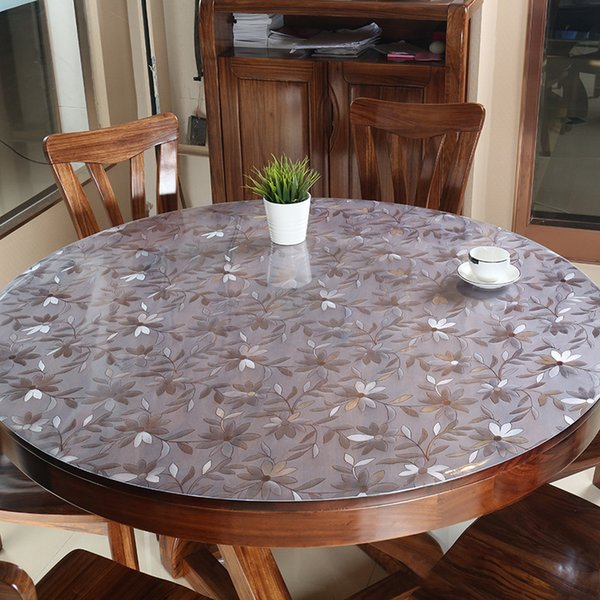 PVC Tablecloth Table Cover Round Desk Soft Glass Waterproof Oilproof Kitchen Dining Room Home Round Table cloth 60-90cm 1.5mm