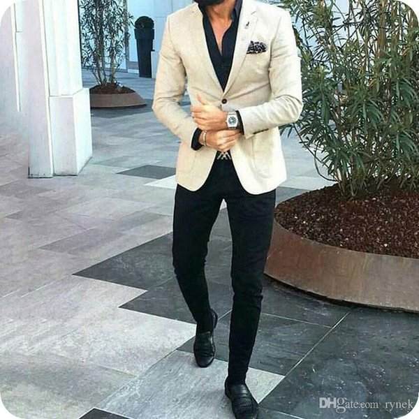 Latest Coat Pants Designs Ivory Men Suits Black Pants Man Blazer Prom Party Jacket Groom Wedding Tuxedos 2Piece Groomsmen Suit Costume Homme