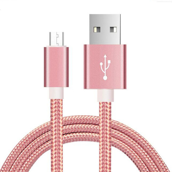 Qualität Telefonkabel 2A 2 Mt Metall Shell Nylon Weave Micro USB Kabel Schnellladegerät Daten Sync USB Kabel Typ C Für Handys Tablet PC