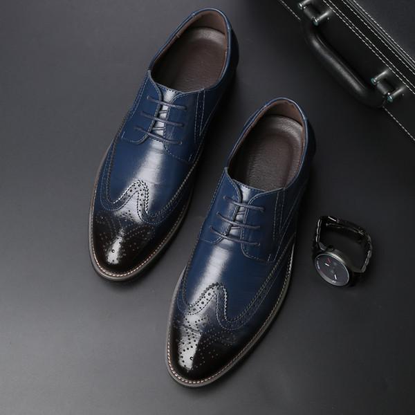 2019 Brogue hombres zapatos casuales de negocios formal banquete de boda zapatos de vestir de cuero para hombre adulto retro para hombres de negocios