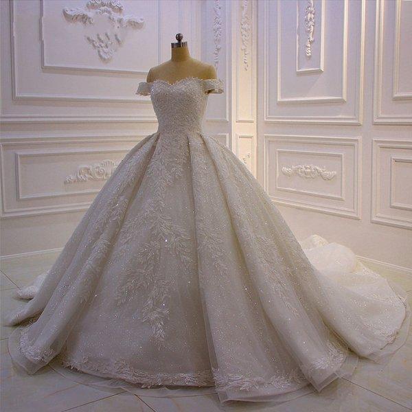 Lüks Bling Balo Gelinlik Kapalı Omuz Katedrali Kraliyet Tren Parlak Kristal Rhinestones Taşlar Sequins Boncuk Gelin vestidos