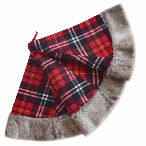 Free shipping Christmas Tree Skirt Plaid High Quality XMAS Tree Decoration Merry Christmas with faux fur border deocration