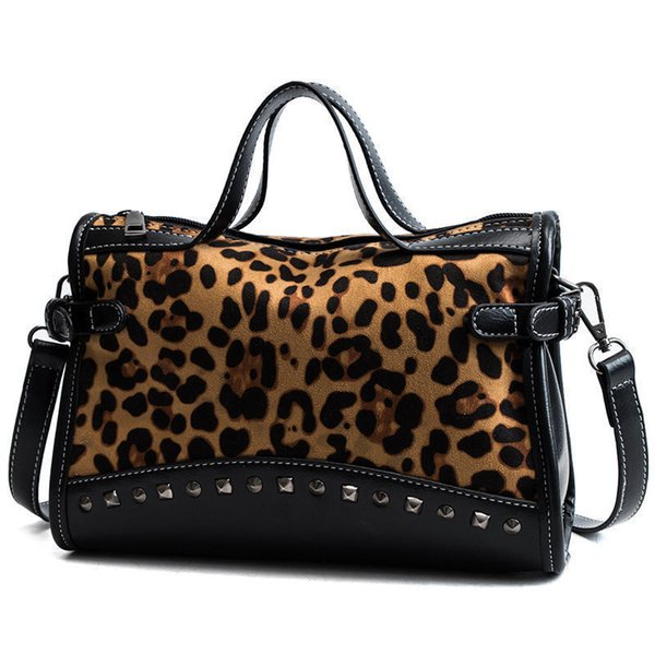 New Rivet Chain Bags Faux Leather Suede Cross Body Bags For Women Velvet Large Hand Bag Leopard Print Shoulder Handbags