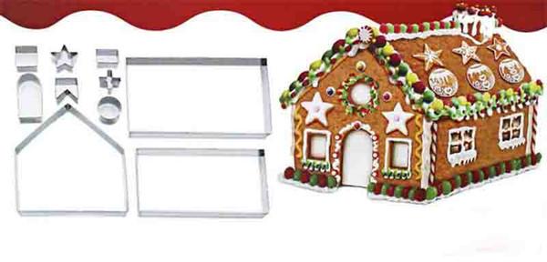 Yeni Bar 3D Gingerbread house Paslanmaz Çelik Noel Senaryo Çerez Kesiciler Set Bisküvi Kalıp Fondan Kesici Pişirme Aracı