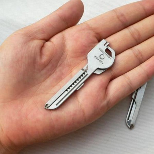 2017 neue Arrivial 6 in 1 Edelstahl SWISS TECH Utili-Key Schlüsselanhänger Kette Taschenschneider Schraubendreher MULTI-TOOL Kostenloser Versand IS0309