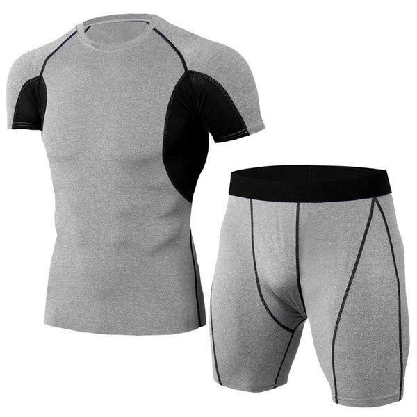Ternos de Esporte rápido Compressão Seca dos homens de Corrida Conjunto de Homens Curto t shirt E Shorts Ternos de Ginástica Fatos de Treino de Fitness calças de Treino