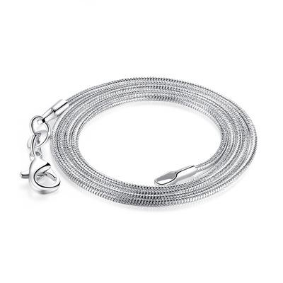 1.2mm Snake Chains 925 Silver Plated Necklace Snake Bone Chains with Lobster Clasps 18 20 22 24 26 Inch Jewelry Accessories Cheap Wholesale