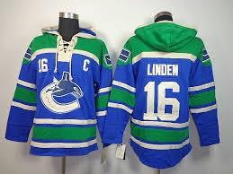 Vente chaude Hommes Vancouver Canucks 16 Trevor Linden Vieux Temps Bleu Meilleure Qualité Pas Cher Broderie Logo Hockey Sur Glace Hoodies