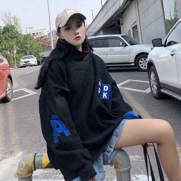 2019 Ms.Downtown printemps mode femme col de tortue haute intensité knited hoodie haute rue occasionnel jure survêtement en plein air