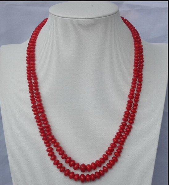 necklace Free shipping ++++906 2strds Red Coral Rondelle necklace