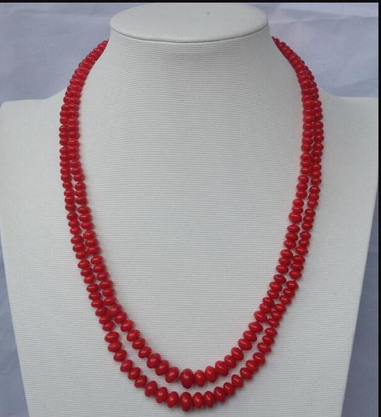 collar Envío gratis ++++ 906 2strds Red Coral Rondelle collar