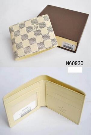 X7 L comprobado blanco billetera con páginas