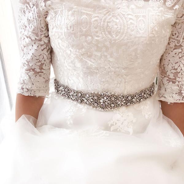2019 Yeni Rhinestone Gelin Bel Kemeri Saten Kurdele Tam Boncuklu Kristal Gelinlik Aksesuarları Kıyafeti Dekor