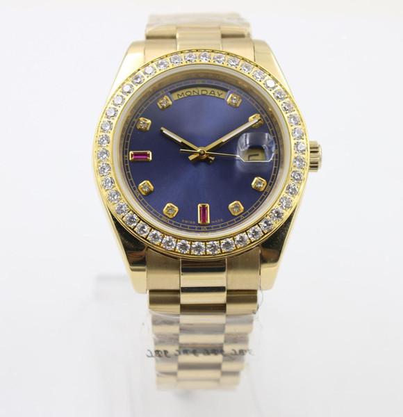2019 Superlative Chronometer automatique Diamon Men \ »; S Wristwatch pleine or jaune Ceinture visage bleu avec le calendrier déployante Daydate.