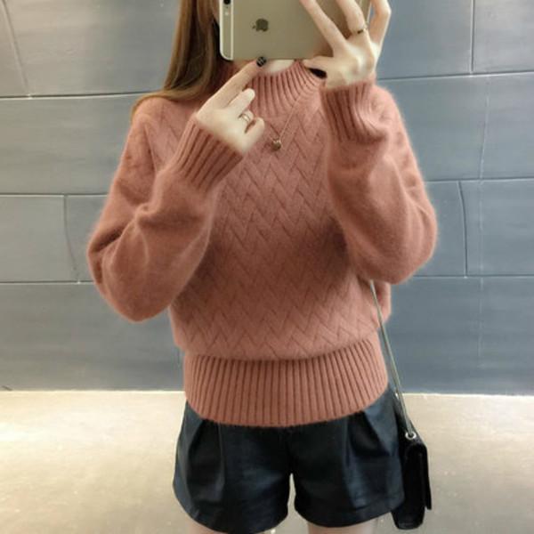 Suéter Mujer Cuello de tortuga para el invierno Otoño Moda Jersey de punto Señora Pullover Mujer Tricot Cashmere Pull