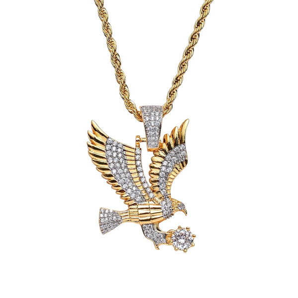 hip hop Eagle diamonds pendant necklaces for men western copper zircon luxury necklace real gold plated 3mm 60cm Stainless steel twist chain