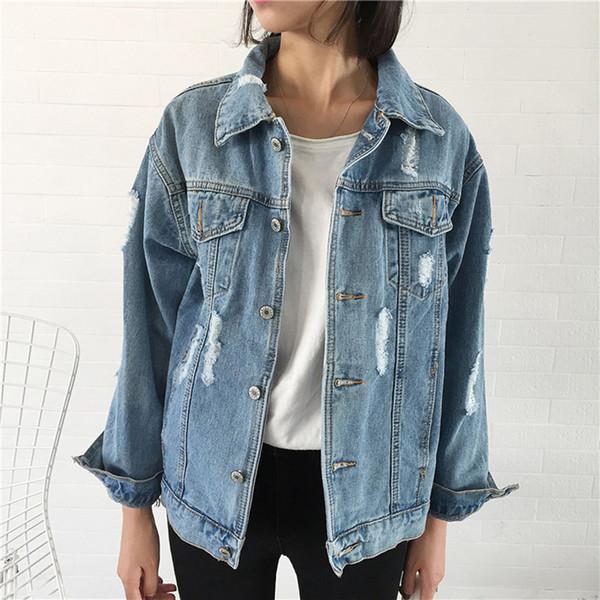 Kadınlar Jeans Coat Gevşek Fit Casual Style için Fannic Kadınlar Temel Coat Denim Ceket Kış Denim Ceket