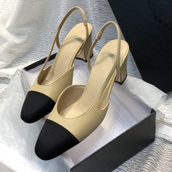Fashion Brand Women cow leather Pointed toe casual Chunky heel sandals,summer Cool High Heeled Moccasins shoe Office Lady Street Pumps,35-42