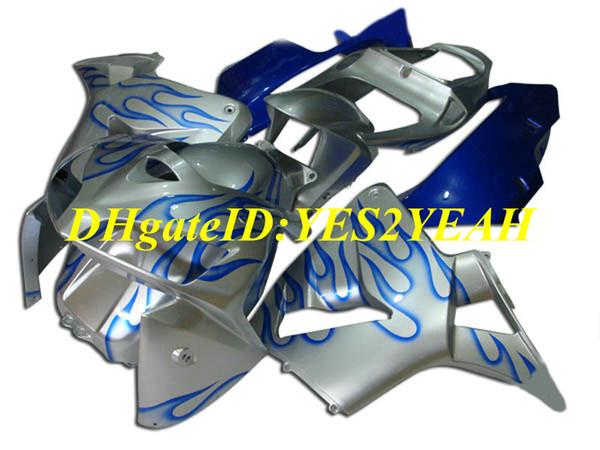 HONDA CBR600RR için 05 06 CBR 600RR CBR 600 RR F5 2005 2006 ABS Mavi alevler gümüş Fairings set + hediyeler HQ45